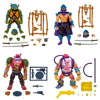 Super7 TMNT Ultimates LEONARDO, SHREDDER, BEBOP, and MUTAGEN MAN Set